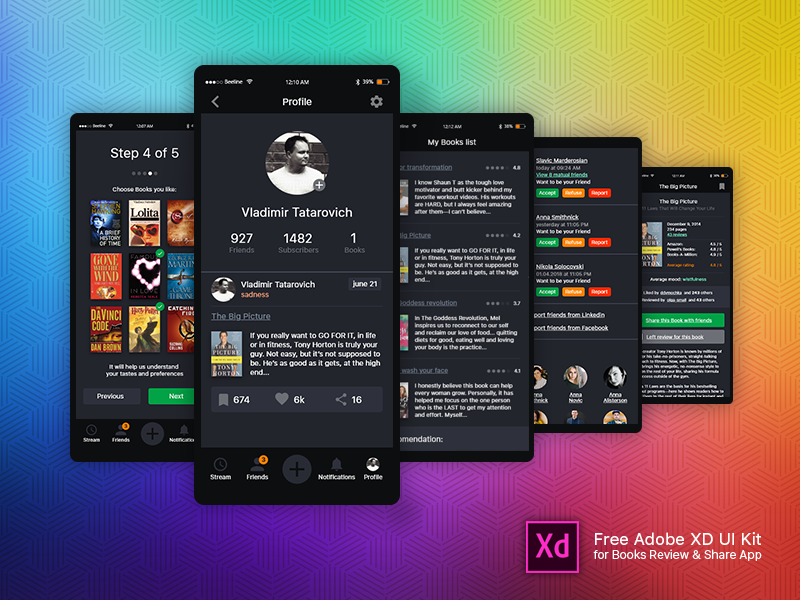 Free UI kit for Mobile App (Adobe XD) ui ui design books application mobile app app design xd adobe xd