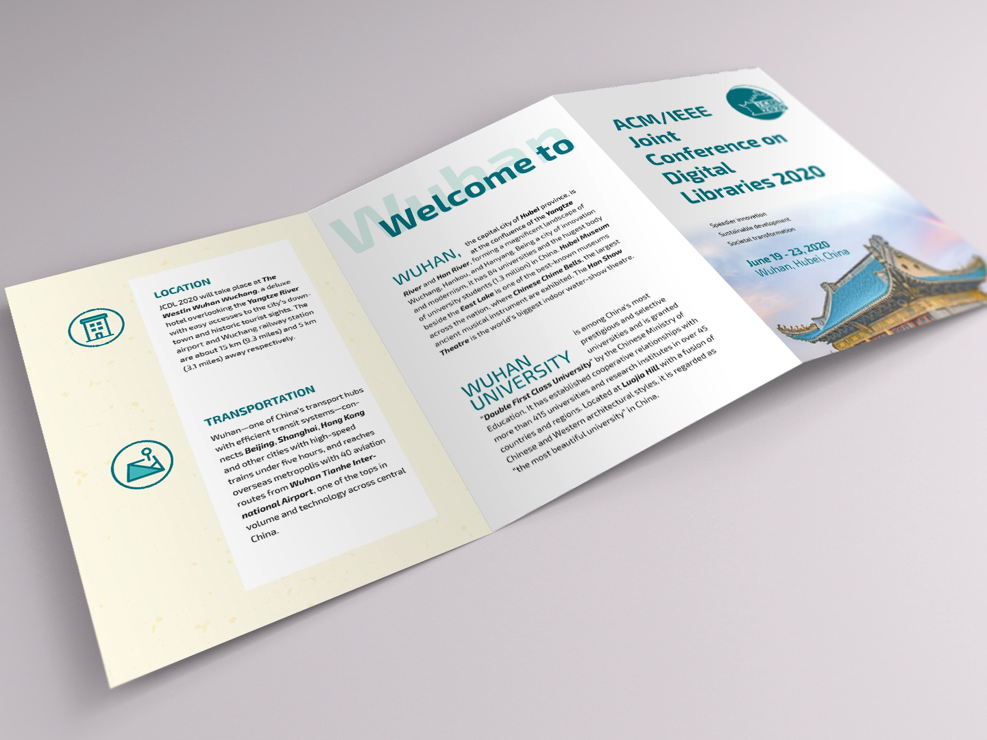 Conference A5 trifold leaflet (JCDL 2020) by Huiqin Gao on