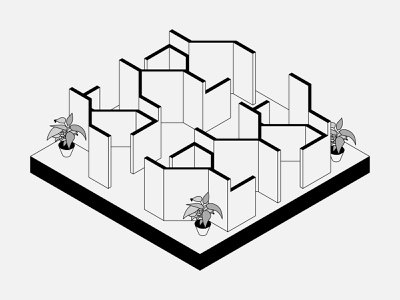 Concept Office Cubicle Layout isometric isometric illustration interiors minimal vector illustration design architecture