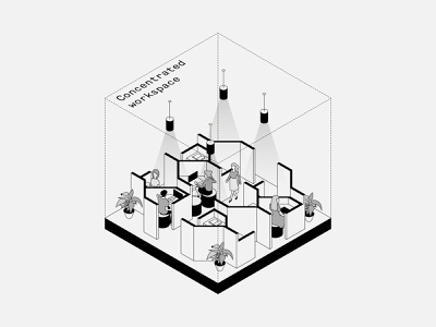 Concentrated Workspace typography isometric illustration isometric interiors minimal vector illustration design architecture