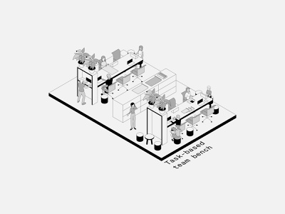 Isometric Office Spaces: 1-3 isometric illustration isometric interiors minimal vector illustration design architecture