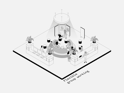 Isometric Office Spaces: 4-6 typography isometric illustration isometric interiors minimal vector illustration design architecture
