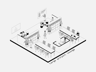 Isometric Office Spaces: 7-9 typography isometric illustration isometric interiors minimal vector illustration design architecture