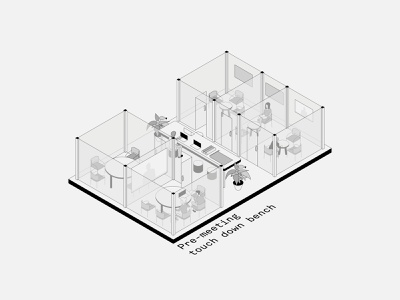 Isometric Office Spaces: 10-12 architect office workspace people typography interiors isometric illustration isometric minimal vector illustration design architecture