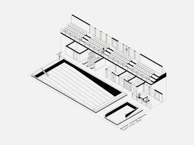 Active Living Centre canada leisure sports pool architect interiors isometric illustration isometric minimal vector illustration design architecture
