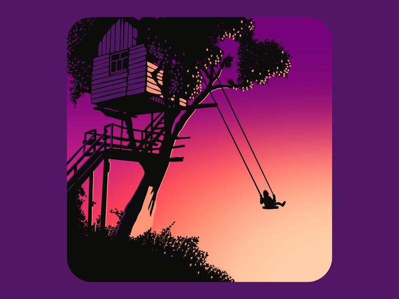 Swing treehouse tree shadow procreate sunrise sunset silhoutte illustration print swing