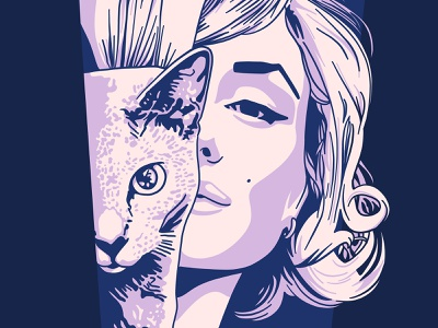 Marilyn Monroe purple minimalist illustration portrait cat marilyn marilyn monroe procreate