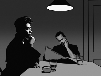 Conversation thinking reading table interior blackandwhite procreate illustration