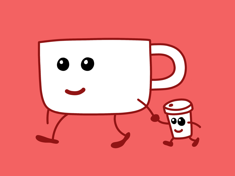 Mr. Mug and Cuppy papercup mug cute comic red procrate coffee illustration