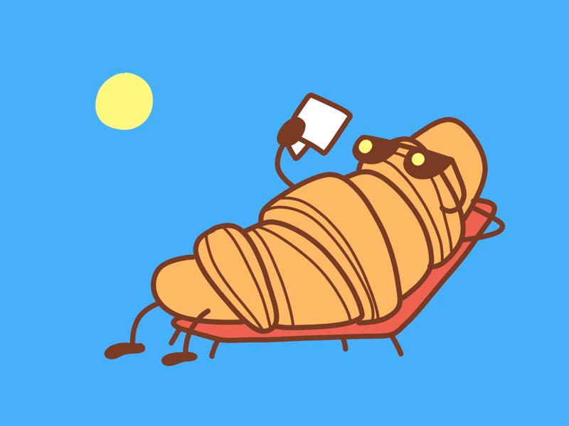 Mr. Croissant sunny procreate comic cute blue croissant illustration