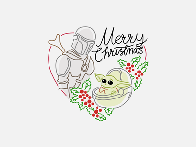 Merry Christmas! illustration procreate mandalorian baby yoda yoda merry christmas