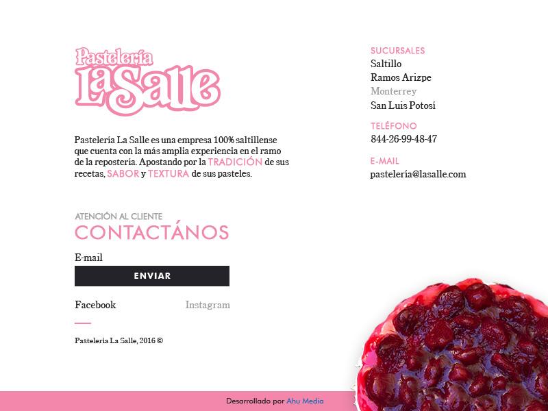Pastelería La Salle Footer - Tablet e-commerce saltillo contact website web design responsive ui ux design footer cakes ipad
