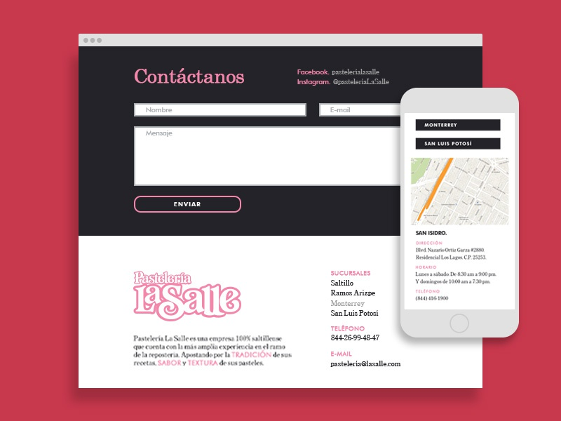 Pastelería La Salle - Contact responsive laptop footer web design design digital contact ux ui saltillo cakes