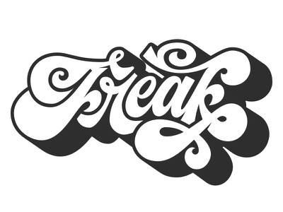 Freak! throwup freak old shadow style letters typography art nouveau lettering