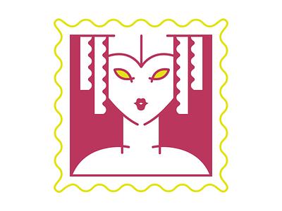 art deco art deco stamp vector illustration girl flat design
