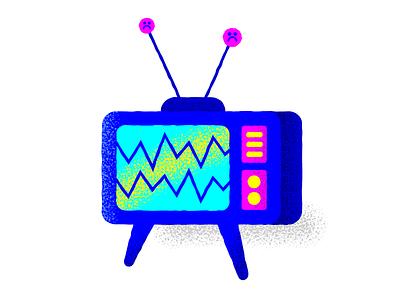 sadgurl texture depression sad television tv design vector illustration