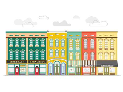 depot town, ypsilanti building texture colorful city town depot store storefront michigan ypsilanti flat design vector illustration