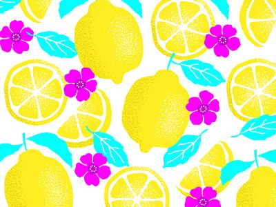 lemonz fresh spring flowers texture lemon fruit pattern design vector illustration