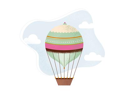 hot air balloon doodle illustrator clouds sky balloon hot air balloon texture design vector illustration