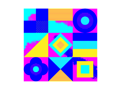 pattern and shape experiment yellow blue pink dots shapes tiles colors texture flat design vector illustration