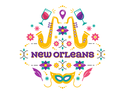 new orleans ornamental ornament colors saxophone music typography mardi gras city new orleans flowers flat design vector illustration