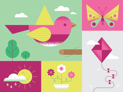 springtime 🌸⛅️🌿 butterfly sunshine springtime bird seasons spring flowers colors flat texture design vector illustration