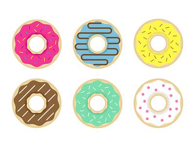 half dozen 🍩 six sweet baking donuts donut colors texture design vector illustration