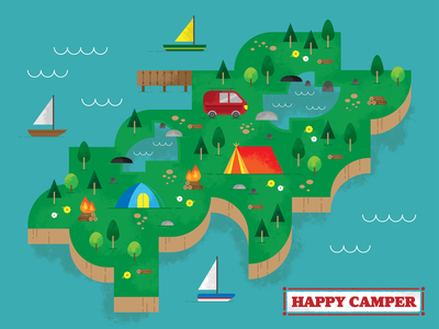 happy camper water trees tents camping summer spring flowers colors texture design vector illustration