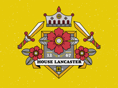 house lancaster - the red rose monarchy crown war of the roses red rose royalty crest game of thrones flowers texture vector illustration