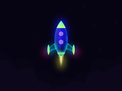 Glowing Rocket lights neon up illustration flat rocket glowing