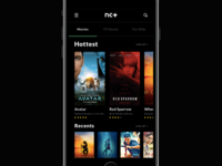 Movie app concept main screen.