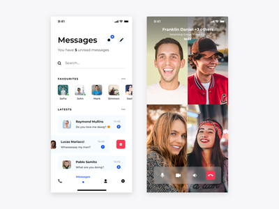 Skype redesign concept- Messages and Video Call skype app design ui redesign concept chat video chat messenger tabbar search minimal mobile