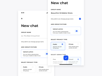 Skype redesign concept- New Group Chat 1/2 app design ui minimal mobile chat redesign messanger group chat uploading