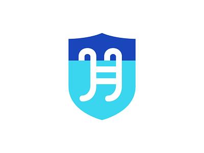 Heroic Pools logo heraldry shield hero typographic ladder pool logo