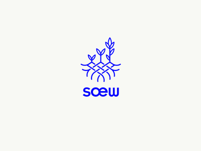 SOEW logo custom type typography line art growth crops plants sow sew marketing logo