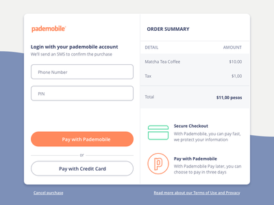 Pademobile Checkout order credit card secure library modal checkout payment