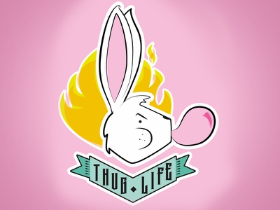 Thug Life   vector pink bunny tattoo kids easter
