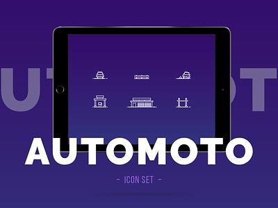 Automotive Icon Pack web idea vector art moto car automoto illustration icon icons minimal font portfolio clean typography color ui ux digital design
