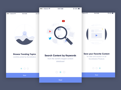 Content Inspiration - Onboarding content media social onboarding mobile ios intro socialbakers app