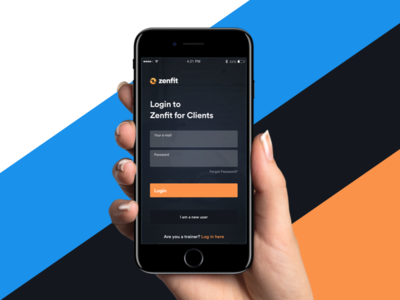 ZenfitApp - Login Screen zenfit workout interface experience user mobile iphone ios