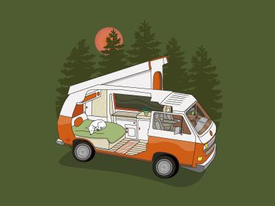Camper Van outdoors camping volkswagon vw design illustration van camper