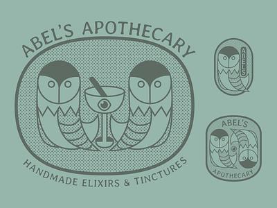 Abel's Apothecary tincture eye owl logo medicine elixir herbs apothecary owl graphic branding logo illustrator design illustration
