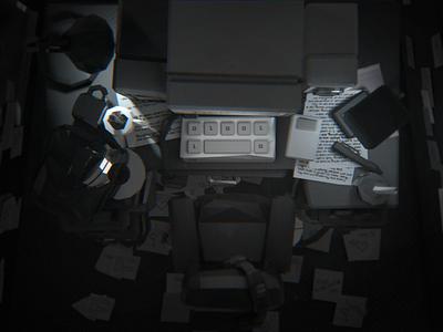 Deadends Triptych [1/3] - shot #02 computer desk death ar particles animation illustration vr c4d videogame blender character design 3d