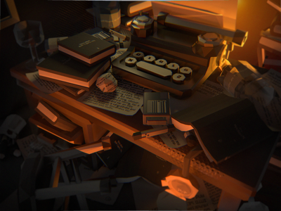 Deadends Triptych [2/3] - shot #02 low poly vr three.js animation illustration typewriter desk isometric videogame c4d 3d blender