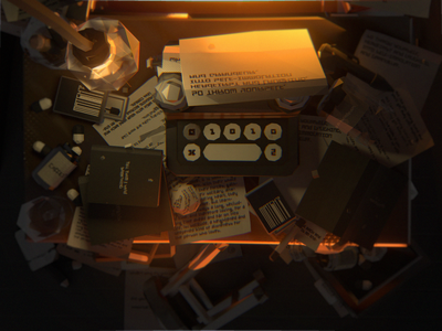 Deadends Triptych [2/3] - shot #03 vr particles animation illustration low poly videogame c4d 3d blender typewriter writer