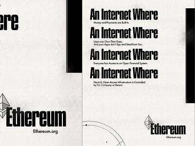 Ethereum Campaign 2/2 cryptocurrency blockchain illustrator photoshop 2d typeface typogaphy 1960s poster