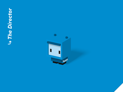 Color Personalities 01 - The Director low poly robot character pixel art illustration isometric 3d blender character design voxel voxel art cute blue