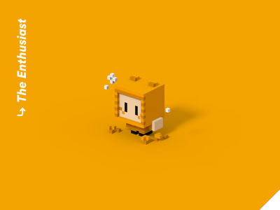 Color Personalities 02 - The Enthusiast quiz personality pixel art bee robot cute low poly vr illustration isometric videogame blender character design