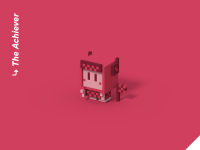 Color Personalities 03 - The Achiever pixel art racing cute vr illustration isometric videogame blender character design 3d achievement