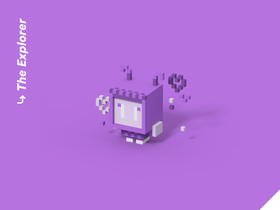 Color Personalities 05 - The Explorer cute pixel art vr illustration isometric videogame blender character design 3d hearts robot adventure explorer